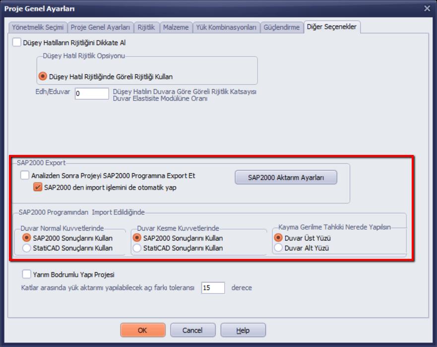 Proje Genel Ayarlarında SAP2000 Export ve Import Seçenekleri