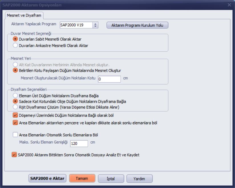 SAP2000 Export Seçenekleri